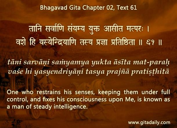 Bhagavad Gita Chapter 02 Text 61
