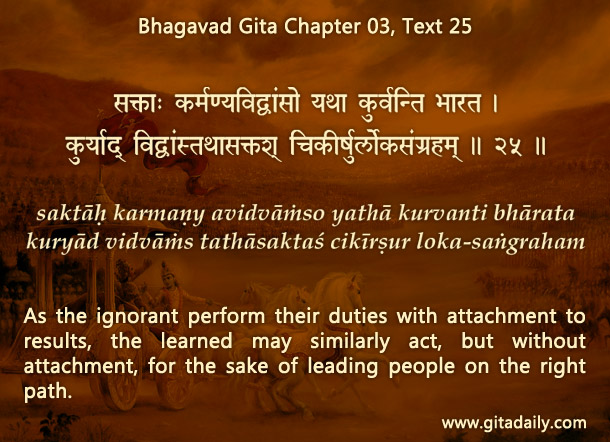 Bhagavad Gita Chapter 03 Text 25