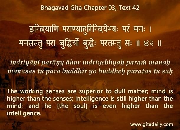Bhagavad Gita Chapter 03 Text 42