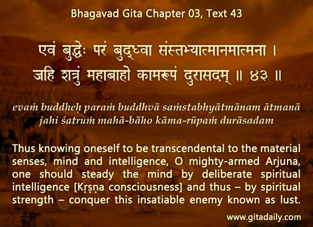 Bhagavad Gita Chapter 03 Text 43