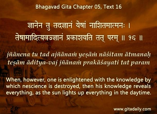 Bhagavad Gita Chapter 05 Text 16