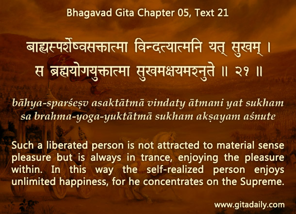 Bhagavad Gita Chapter 05 Text 21