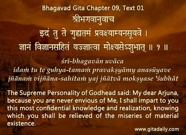 Bhagavad Gita Chapter 09 Text 01