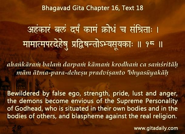 Bhagavad Gita Chapter 16 Text 18